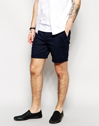 Asos Stretch Chino Shorts In Mid Length Navy