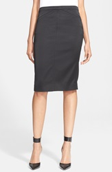 Atm Anthony Thomas Melillo Tuxedo Satin Pencil Skirt Black