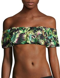 Lucky Brand Tropical Print Off The Shoulder Cropped Top Multi