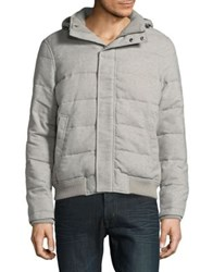 Black Brown Quilted Puffer Jacket Grey