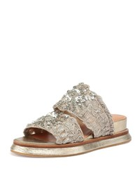 Dries Van Noten Sequin Embellished Flat Woven Sandal Slide Silver