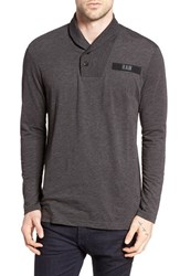G Star Men's Raw 'Gilik' Shawl Collar Long Sleeve T Shirt Dark Black