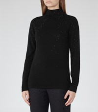 Reiss Souli Womens Embellished High Neck Jumper In Black