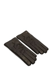 Gucci Snake Embossed Leather Gloves Black