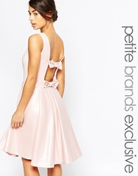 John Zack Petite Prom Dress With Bow Back Detail Pink