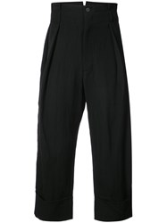 Ann Demeulemeester Mustang Cropped Trousers Acetate Wool Black