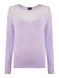 Armani Jeans Long Sleeve Contrast See Through Top Lilac