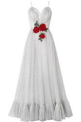 Rodarte Embellished Flocked Tulle Gown White