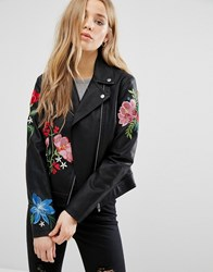 New Look Embroidered Hero Biker Jacket Black