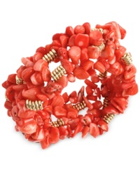Kenneth Cole New York Gold Tone Semi Precious Coral Chip Bead Stretch Bracelet