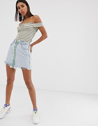 Bershka Zip Front Skirt In Blue Blue