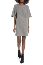 Astr The Label Ribbed Sweater Dress Gray