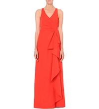 Armani Collezioni Ruched Crepe Waterfall Gown Red