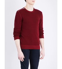 The Kooples Zip Detail Stretch Cotton Jumper Red01