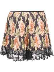 Paco Rabanne Floral Pleated Shorts Black