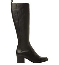 Dune Teyla Stretch Leather Knee High Boots Black Leather