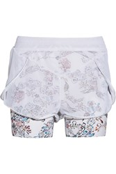Lucas Hugh Inca Mesh And Floral Print Stretch Jersey Shorts White
