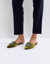 Glamorous Pointed Mule In Green With Bee Embellishment
