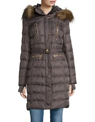 Vince Camuto Faux Fur Trim Hooded Jacket Dark Taupe