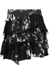 Roberto Cavalli Tiered Tie Dyed Washed Silk Mini Skirt Black