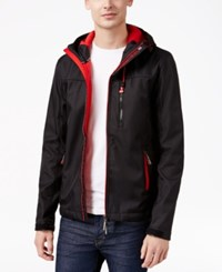 Superdry Men's Windtrekker Soft Shell Hooded Coat Black Rebel Red