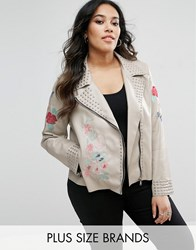 Alice And You Floral Embroidered Faux Leather Jacket With Studs Beige