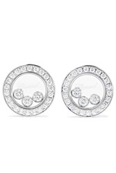 Chopard Happy Diamonds 18 Karat White Gold Diamond Earrings One Size