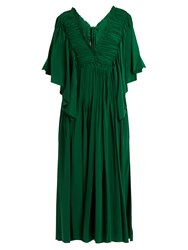 Rochas Ruffle Trimmed Open Back Silk Dress Dark Green