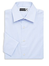 Saks Fifth Avenue Solid Cotton Twill Dress Shirt Blue