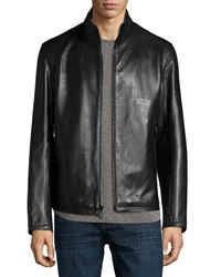 Andrew Marc New York Dorset Leather Jacket Black