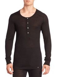 Hanro Solid Long Sleeve Henley Black