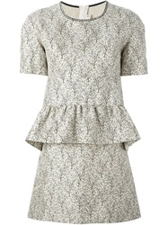 Marni Floral Print Peplum Dress Nude And Neutrals