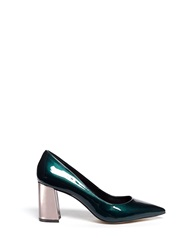 Pedder Red 'Charlie' Contrast Heel Patent Leather Pumps Green