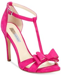 Inc International Concepts Women's Reesie Bow T Strap Sandals Only At Macy's Women's Shoes Deep Fuschia