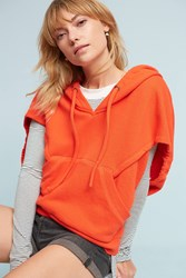 Anthropologie Cropped Cocoon Hoodie Orange