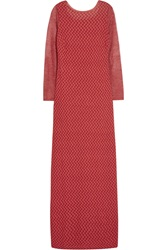 Missoni Cutout Back Crochet Knit Gown Red