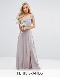 Tfnc Petite Wedding Cold Shoulder Embellished Maxi Dress Grey