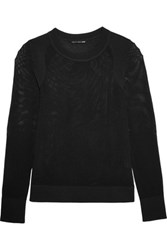 Rag And Bone Shea Open Knit Cotton Blend Sweater Black