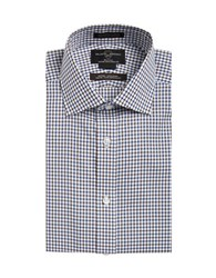 Black Brown Non Iron Fitted Egyptian Cotton Windowpane Dress Shirt Blue