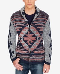 Lucky Brand Men's Jacquard Shawl Collar Cardigan Multi