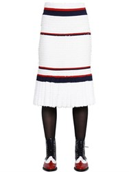 Thom Browne Pleated Fil Coupe And Crepe Pencil Skirt