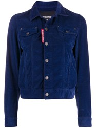 Dsquared2 Fitted Corduroy Jacket Blue
