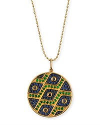 Sydney Evan Multi Eye Black Diamond And Sapphire Medallion Necklace Yellow Gold