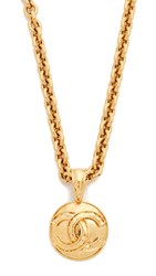 Wgaca Chanel Cc Round Necklace Previously Owned Gold
