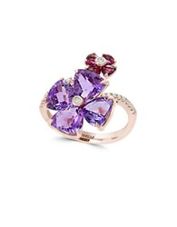 Effy Amethyst Rhodolite Diamond And 14K Rose Gold Double Floral Ring
