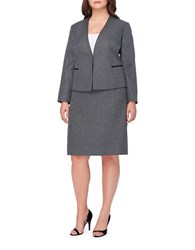 Tahari By Arthur S. Levine Plus V Neck Houndstooth Jacket And Skirt Set Grey Black