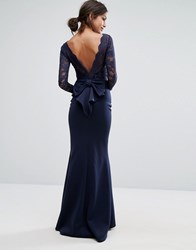 City Goddess Bow Back Maxi Dress With Lace Body Navy