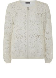 Mint Velvet White Lace Mesh Cardigan White