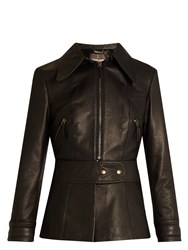 Roberto Cavalli Point Collar Leather Jacket Black