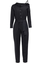 Maje Woman Belted Woven Jumpsuit Black